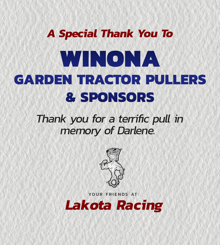 Thank you Winona Garden Tractor Pullers and Sponsors